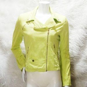 Steve Madden Neon Yellow Denim Moto Jacket